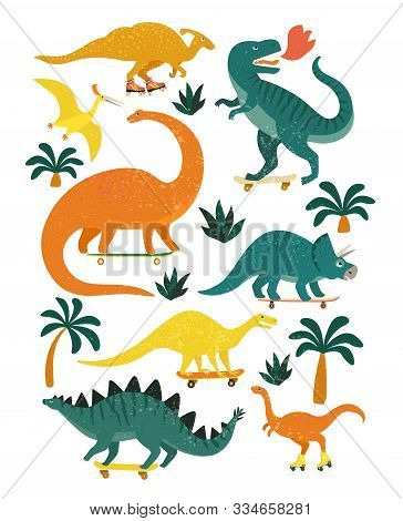 Set Of Dinosaurs Including T-rex, Brontosaurus, Triceratops, Velociraptor, Pteranodon, Allosaurus, E