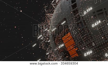 Connection Lines And Dots Around Digital Abstract Cyber Pcb Sphere, Futuristic Technology Background