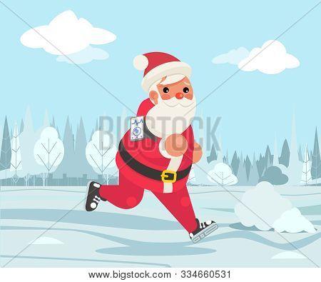 Santa Claus Christmas Weight Loss Outdoor Running Health Care Run Park Cardio App Smartphone Cartoon