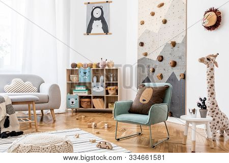 Stylish Scandinavian Interior Design Of Childroom With Gray Sofa, Modern Climbing Wall For Kids, Des