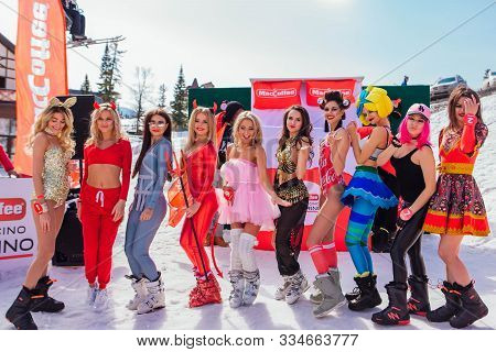 Sheregesh, Kemerovo Region, Russia - April 12, 2019: Young Happy Pretty Womtn Dressed In Bikini And