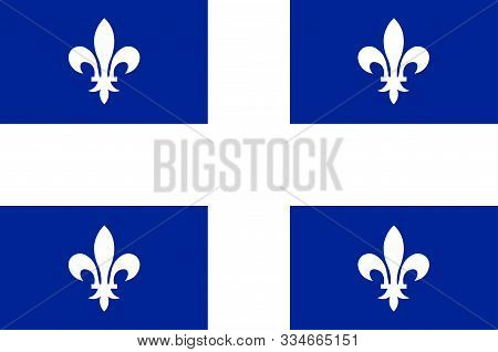 Flag Of Quebec Is One Of The Thirteen Provinces And Territories Of Canada. Vector Illustration