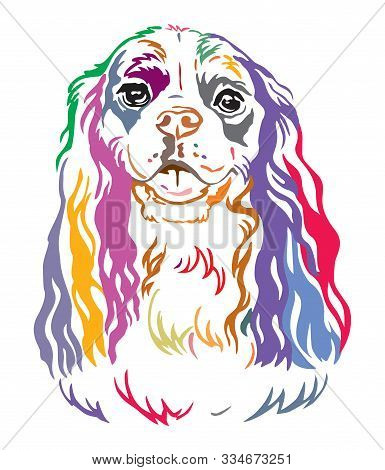 Colorful Decorative Contour Outline Portrait Of Dog Cavalier King Charles Spaniel, Vector Illustrati