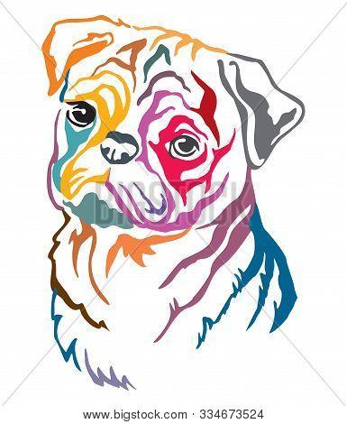 Colorful Decorative Contour Outline Portrait Of Dog  Pug, Vector Illustration In Different Colors Is