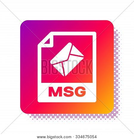 White Msg File Document. Download Msg Button Icon Isolated On White Background. Msg File Symbol. Squ