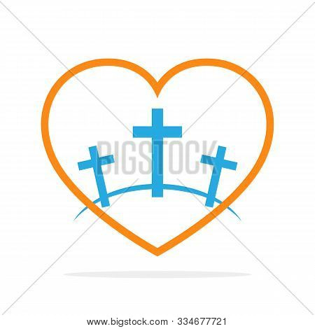 Calvary Symbol With Shape Of Heart. Vector Illustration. Colored Icon Of Golgotha