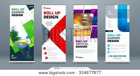 Business Roll Up Banner Stand. Abstract Roll Up Background For Presentation. Vertical Retractable Ro