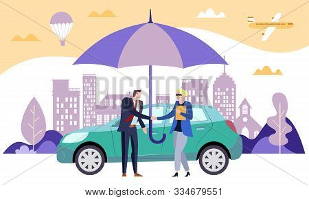 Safe Car Concept Carrying Comprehensive Document With The Vehicle Owner And Broker Shaking Hands Und