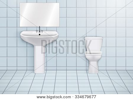 Wc Washroom With White Porcelain Sink And Urinal. Public Restroom Interior With Ceramic Washbasins A
