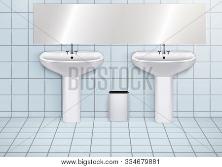 Wc Washroom And White Porcelain Sink. Public Restroom Interior With Ceramic Washbasins. Front View A