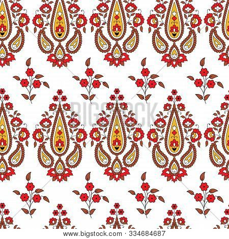 Indian Kalamkari Vector Paisley With Flower Repeat Pattern Background On White Surface