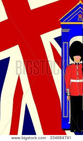 The British Union Jack Flag With A Coldstream Guard And Sentry Box