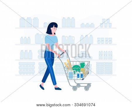 Supermarket Shopping Concept. Young Woman Shopping For Groceries. Girl In A Supermarket. Woman Rolls