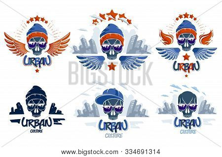 Urban Culture Style Skull  Vector  Or Emblems Set, Gangster Or Thug Illustrations, Anarchy Chaos Hoo