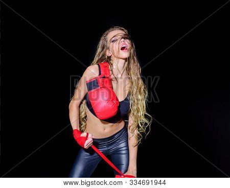 Healthy Lifestyle. Female Boxer And Fighter Concept. Sporty Sexy Girl In Boxing Gloves. Young Beauti