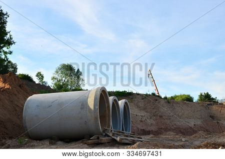 Laying Or Replacement Of Underground Storm Sewer Pipes. Installation Of Water Main, Sanitary Sewer,