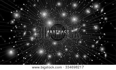 Modern Technology Of Black Circle Vector. Abstract White And Black Background With Sparkling And Glo