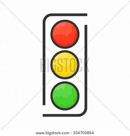 Traffic Light Icon - Vector. Traffic Light Icon Isolated. Traffic Light Icon In Flat Style. Vector T