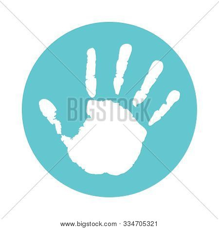 Handprint Kid Icon. Palmprint Child Sign In The Circle Isolated On White Background. Vector Illustra