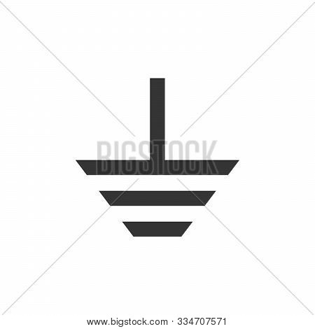 Electrical Grounding Symbol - Vector. Grounding Icon Isolated. Vector Black Icon. Protective Earth G