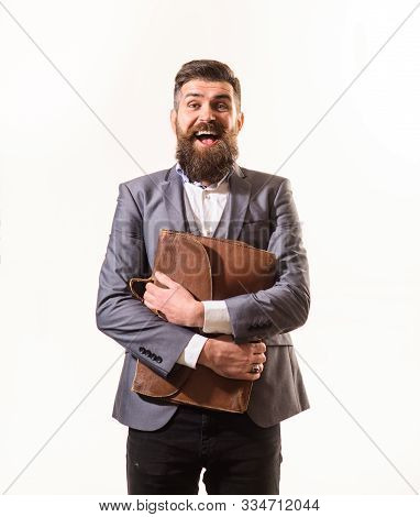 Fashionable Man Dressed In Formal Suit With Briefcase. Elegant Businessman In Suit With Briefcase. B