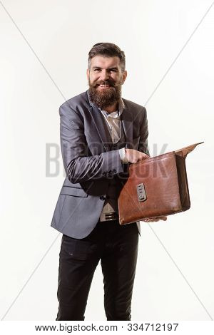Elegant Businessman In Suit With Briefcase. Businessman Holds Fashion Men's Leather Briefcase. Busin
