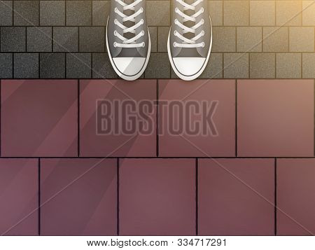 Feet In Sneakers On Cobblestone Pavers And Granite Tiles. Concept Of Walking Trip And Exploring The
