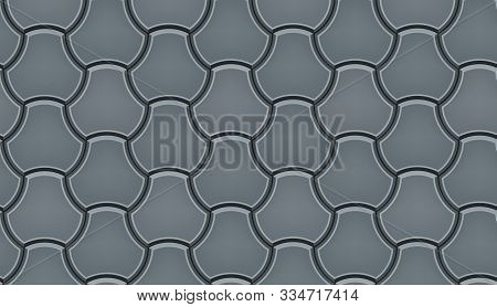 Seamless Pattern Of Tiled Cobblestone Pavers. Geometric Mosaic Street Tiles. Gray Color. Milano Pave