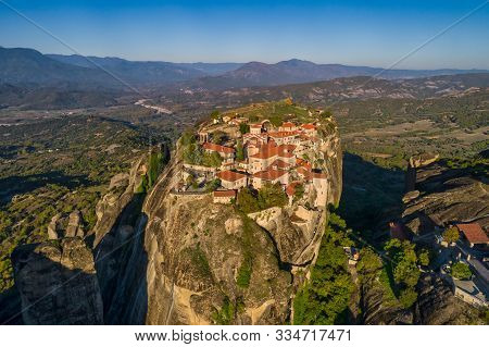 Aerial View From The Monastery Of Great Meteoron In Meteora, Greece