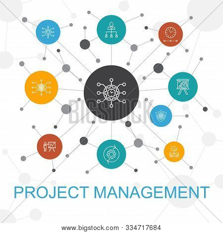 Project Management Trendy Web Concept With Icons. Contains Such Icons As Project Presentation, Meeti