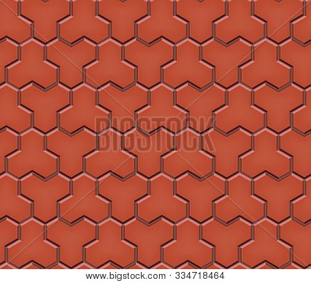 Seamless Pattern Of Tiled Cobblestone Pavers. Geometric Mosaic Street Tiles. Red Color. Paver Block