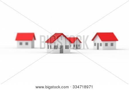 Group Of Blurred House Isolated On White Background. 3d Illustration.