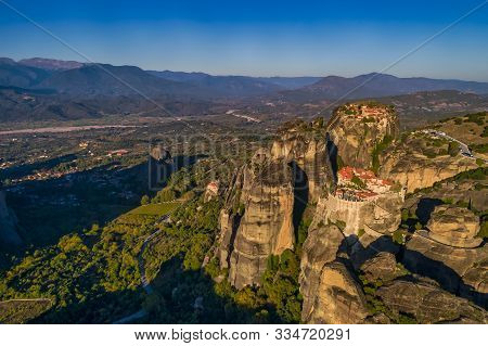 Aerial View From The Monastery Of The Varlaam In Meteora, Greece