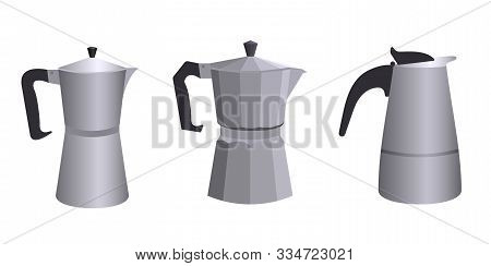 A Set Of Three Different Geyser Italian Coffee Makers In A Flat Style. Vector Illustration