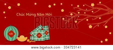 Hand Drawn Vector Illustration For Tet With Rice Cakes, Gold, Watermelon, Apricot Flowers, Vietnames