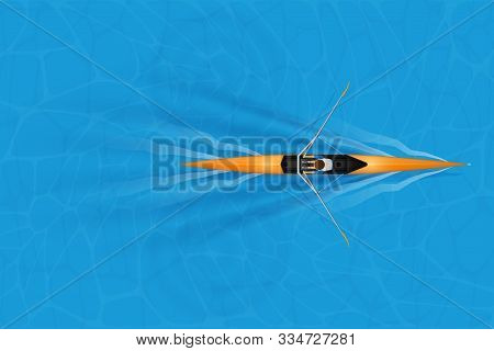 Single Racing Shell With Paddler For Rowing Sport On Water Surface. One Oarsman Man Athlete Inside B