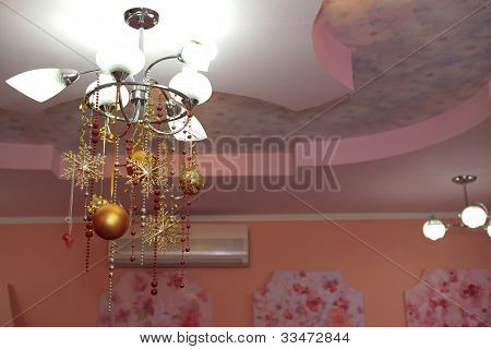 chandelier with christmas bulbs