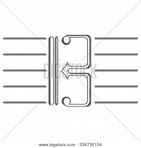 Alto And Tenor Clef Icon In A Pentagram - Vector Illustration