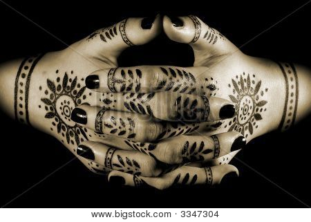 Woman'S Hands With Oriental Tattoo