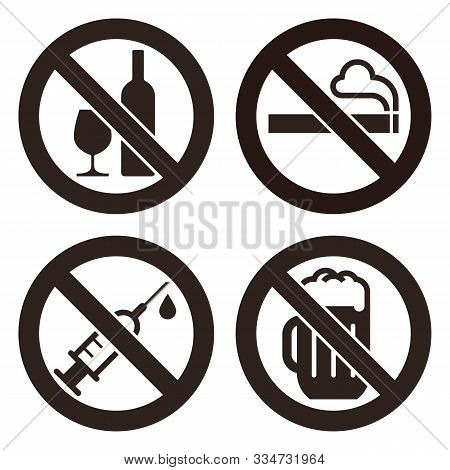 No Alcohol Sign, No Smoking Sign, No Alcohol Sign And No Beer Sign. Prohibited Signs Isolated On Whi