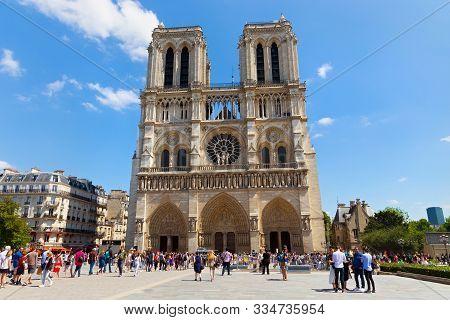 Paris, France - June 23, 2017: View Of The Famous Notre-dame De Paris Church. Is A Medieval Catholic