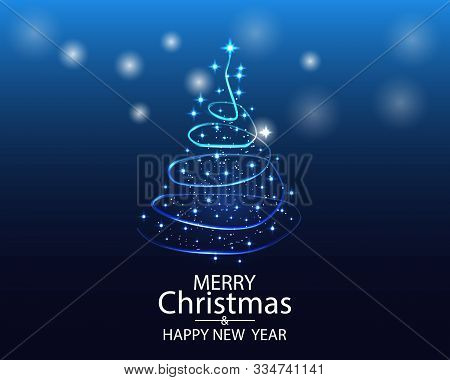 Greeting Card Merry Christmas Background. Vector Illustration With Christmas Tree Elements Snowflake