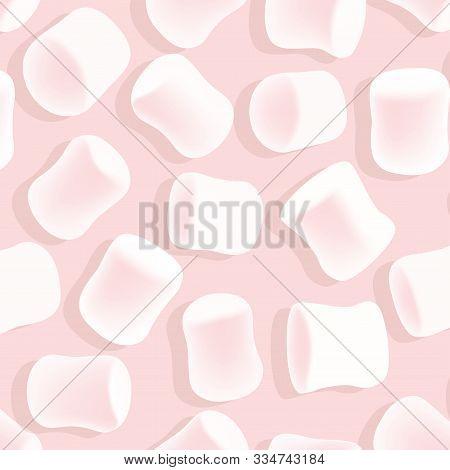 Marshmallow Seamless Pattern. Tasty Marshmallows On Pink Background. Candy Texture.