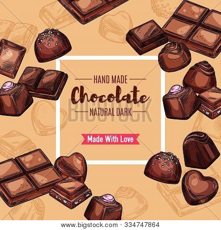 Chocolate Candy And Sweets Package, Vintage Sketch. Vector Handmade Chocolate Candies With Praline,