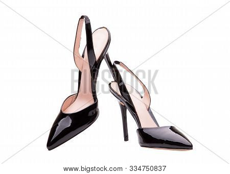 High-heeled Patent-leather Shoes. A Pair Of Beautiful Black Female High Heel Shoes. Narrow-toe Paten