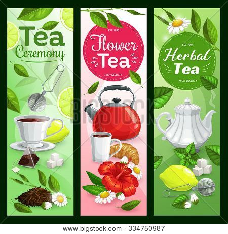 Tea Cup, Teapot And Kettle With Green Leaves Vector Banners. Mugs Of Hot Beverage And Herbal Drink,