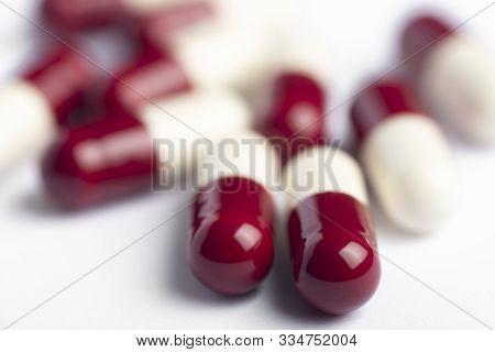 Drug prescription for treatment medication. Pharmaceutical medicament,  Pharmacy theme, Heap of red