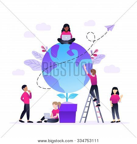 Vector Flat Illustration, Little Multiracial Multinational Men Prepare For The Day Of Earth, Save Th