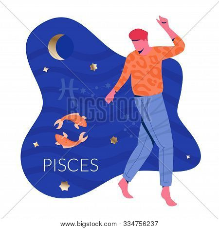 Pisces Man Zodiac And Horoscope Concept. Modern Vector Art With Man And Fishes. Illustration For Hor