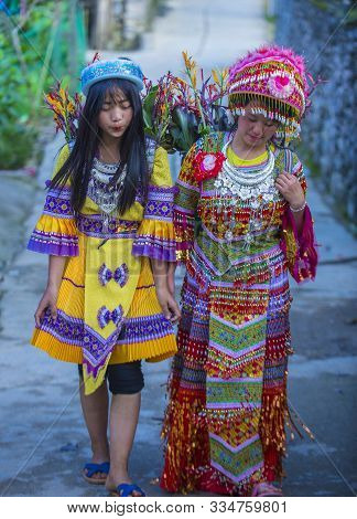 Dong Van , Vietnam - Sep 16 : Girls From The Hmong Minority In A Village Near Dong Van In Vietnam On